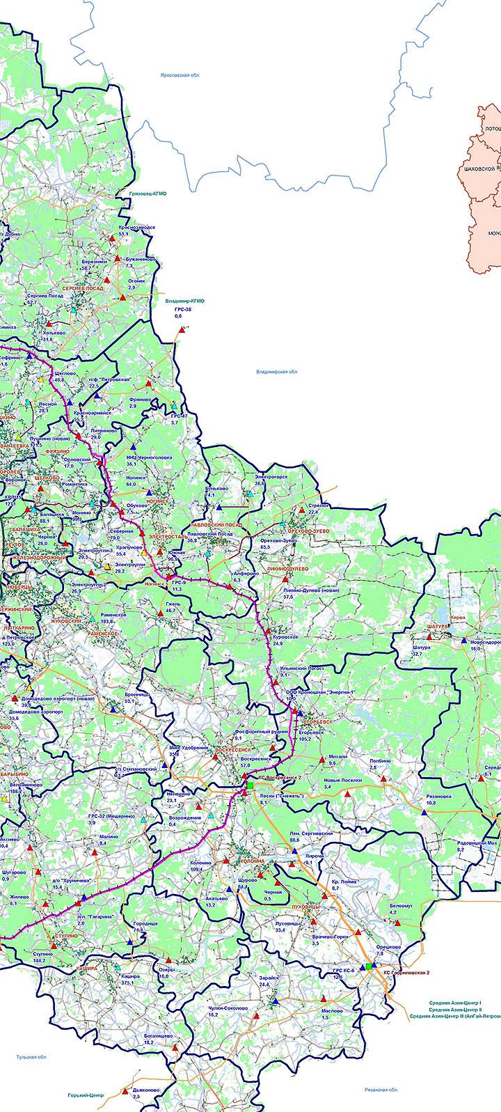 План газификации поселков Московской области до 2020-2025 года. Карта и схема