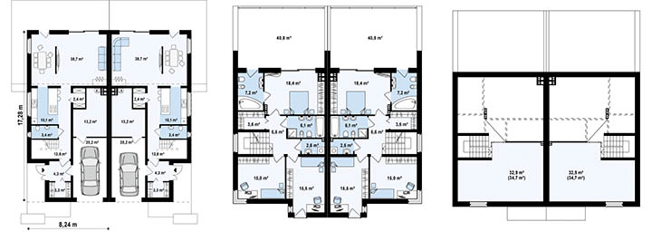 Дома на 2 семьи. Проекты и планировки дуплексов и таунхаусов