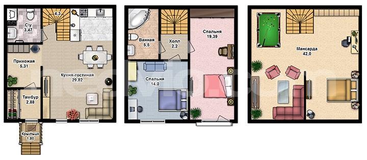 Проживание в таунхаусе. Особенности квартир и их планировок